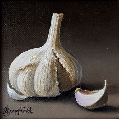 Original oil painting of garlic bulb and clove, by Anne Songhurst at Norton Way Gallery, Hertfordshire.
