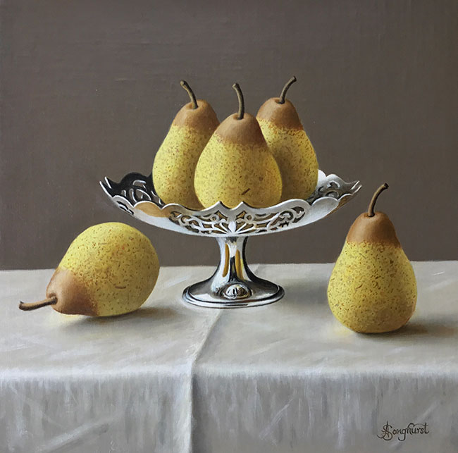 A beautiful, original, oil painting of high quality from Anne Songhurst. It dipicts pears and silverware and is exhibited at Norton Way Gallery, Hertfordshire.