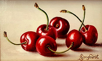 Beautiful original oil painting of six lushous red cherries, by Anne Songhurst. At Norton Way Gallery, Hertfordshire.