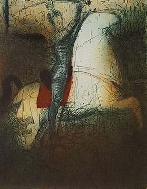 Etching by Stephen Lawlor at Norton Way Gallery, Hertfordshire