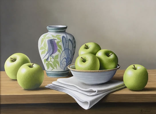 Beautiful original oil painting, of green apples and ceramic vase, by Anne Songhurst. Exhibited at Norton Way Gallery, Hertfordshire.