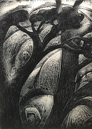 Etching by Flora Maclachlan at Norton Way Gallery, Hertfordshire
